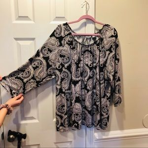 Croft & Barrow 3/4 long sleeve peasant boho shirt